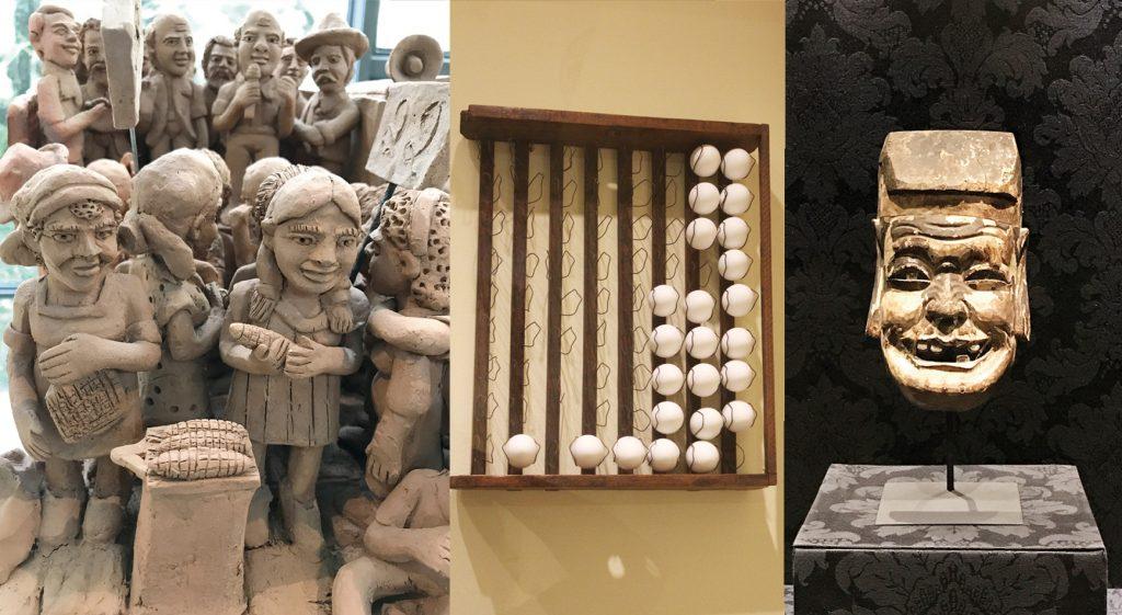 Escultura de argila, suporte para ovos, máscara, em madeira, de guerreiro chinês